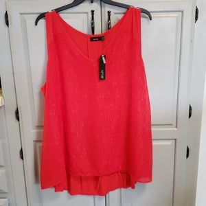 Plus Size Red Tank with Sparkle 3x